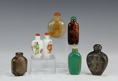 Great Lot Of Antique Chinese Snuff Bottles Silver Porcelain Agate Crystal Etc