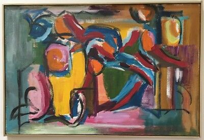 Vintage Mid Century Abstract Modern Oil Painting Signed Framed