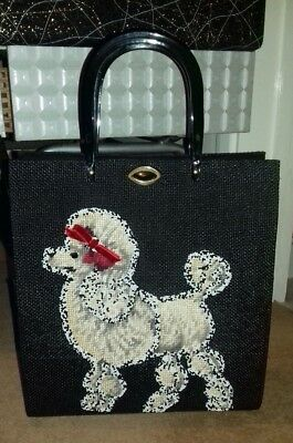 Original Vintage American 1950s Poodle Handbag Purse Rockabilly Beaded Jolles