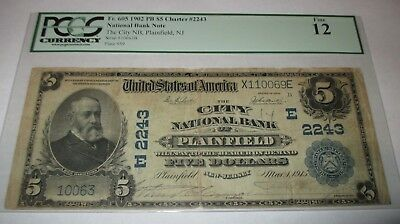 $5 1902 Plainfield New Jersey NJ National Currency Bank Note Bill Ch. #2243 PCGS