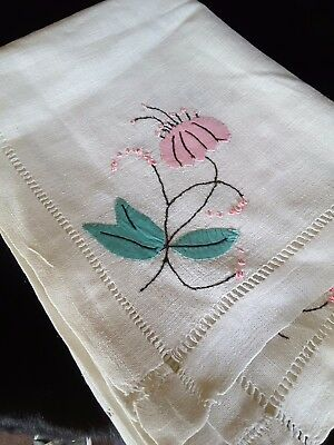 Antique Vintage Feed Sack Appliqued and Embroidered Tablecloth All Hand Sewn