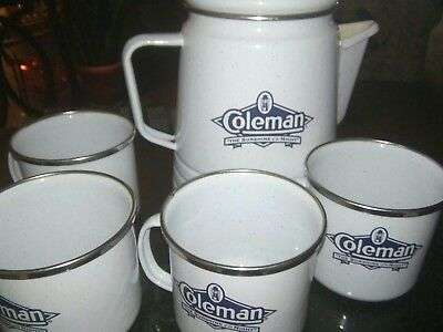 Coleman Limited Edition Enamel Coffee Perculator 4 mugs used one time vg cond