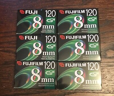Fuji 8mm 120-minute videocassettes, lot of 6, new and sealed