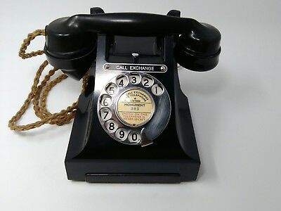 """Vintage Bakelite GPO Black Rotary Telephone with """"Call Exchange"""" button"""