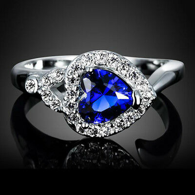 Heart of The Ocean Fashion Blue Sapphire Silver Bride Wedding Ring Jewelry Sz 6