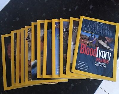 12 Copies of National Geographic ~ Whole of 2012