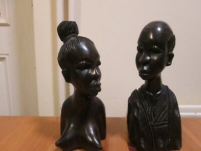 Pair of African Carved Wooden Busts - Man in Tribal Outfit & Topless Naked Lady
