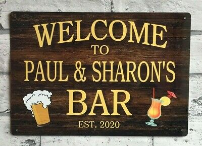 Bar Sign Personalised Metal Man Cave Shed Pub Garage Workshop Gift Idea