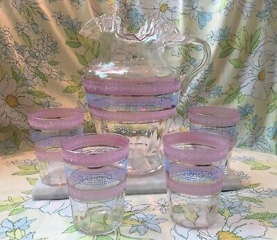 Rare Victorian Blue and Pink Hand Painted Enamel & Hand Blown Pitcher & Cups