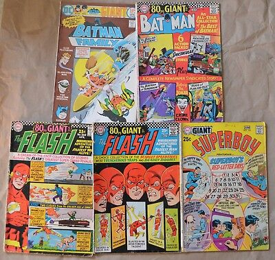 Lot Of 5 Dc Giant 80 Page/giant Issues. Batman, Batman Family, Flash.. (1966-76)