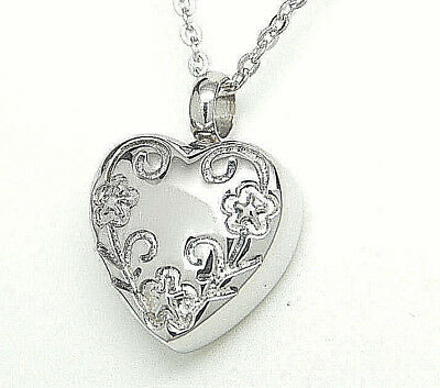 Heart Cremation Urn Necklace with Floral Border || Cremation Jewelry