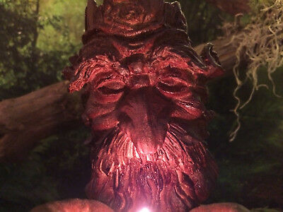 Whimsical Old Man Forest Spirit Sculpture With Cupped Hands Tea Light Holder