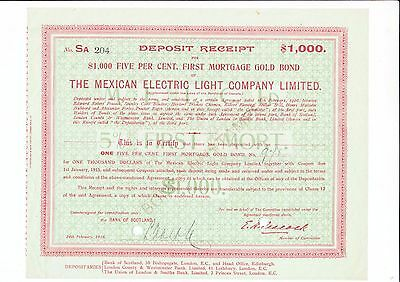 The Mexican Electric Light Comany Limited, 1916 - Gold Bond -