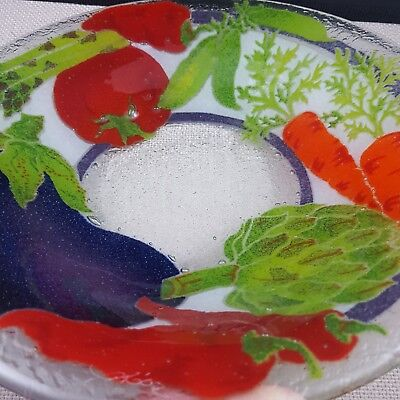 Signed Peggy Karr Mixex Vegetables Serving Bowl Eggplant Carrots Peppers Tomato