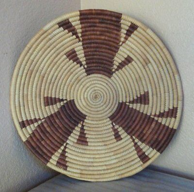 """Vintage Hand Woven Native Tribal African Botswana Coiled Basket 14""""large"""