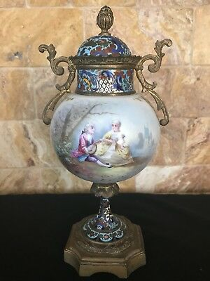 Antique French Handpainted Urn