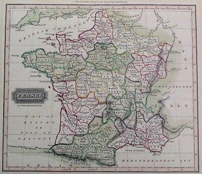 Antique Map France In Depts 1840s Hand Coloured Ewing's General Atlas