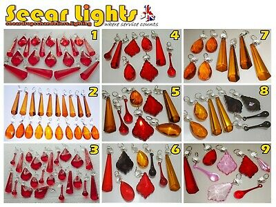Orange Red Droplets Chandelier Glass Crystals Parts Drops Beads Vintage Wedding
