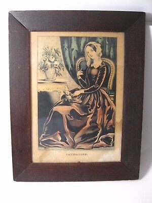 Antique N. Currier 1845 CATHARINE Color Lithograph in Original Vintage Frame