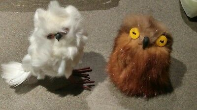 2 Owls Plush Animals - White Snowy Owl w/ glass eyes & Brown Owl w/ button eyes