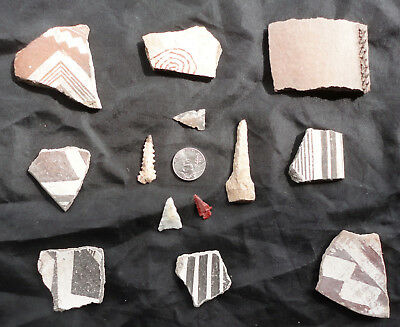 Eight Examples Of Fine Mimbres Artwork Along With Arrowheads And A Drill