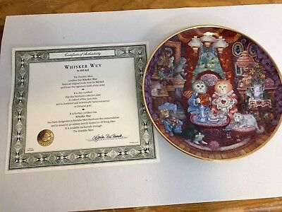 Franklin Mint Whisker Wuv Cat Lover Collector Plate Artist Bill Bell 8""