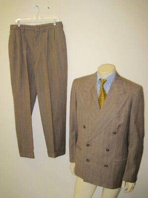 Vintage 1940s JC Penney Pinstripe Double Breasted Gangster Suit Size 38/40