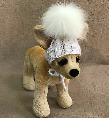 Pet Clothes Hand Knit Hat With Faux Fur Pom Pom for Small Dog XXS XS S sizes