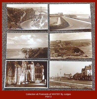 Collection x6 early Judges Sepia real photo postcards of WHITBY
