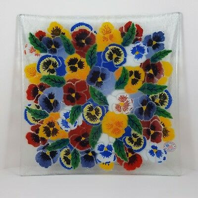 Peggy Karr Signed Pansy Flowers Square Pressed Glass Dish Plate Pansies Rainbow