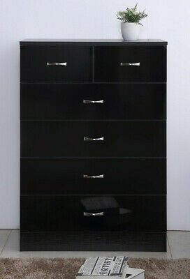 New Harmin High Gloss Walnut/Black 6 Drawer Chest *FAST & FREE DELIVERY*