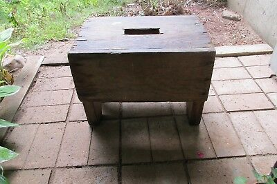 Vintag Wooden Stool bench Milk Seat Step Farmhouse Country Rustic Old