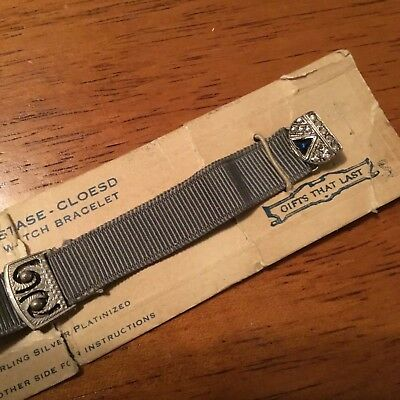 NOS vintage ladies flapper art deco grosgrain watch band STERLING and STONES