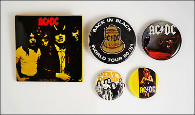 AC/DC Lot Of 5 80's Original Buttons Pins / Highway To Hell / Back In Black Tour