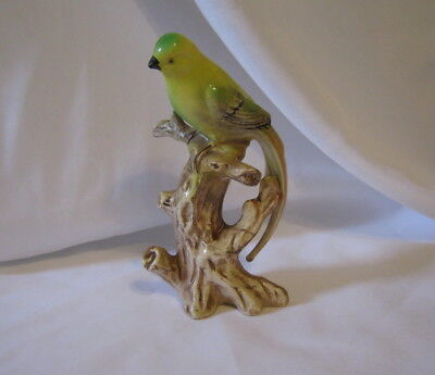 "Vintage Ucagco Yellow & Green Long Tail Parakeet On A Stump Ceramic 6"" Figurine"
