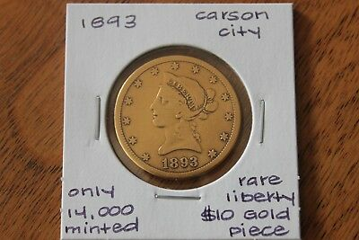 1893-Cc   Only 14,000 Minted  Rare  $10 Liberty Head Gold Piece
