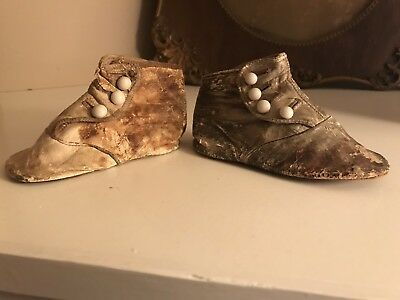 Antique Victorian Leather Baby Shoes