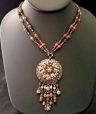 BRONZE BEAD NECKLACE Fringe Pendant Rhinestone Crystal Multi FALL COLORS Avon