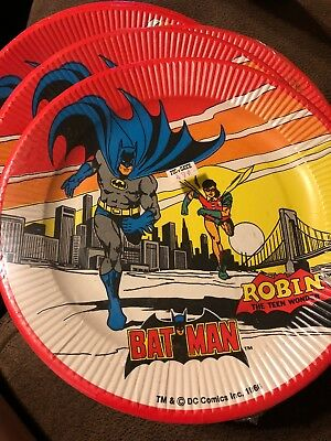 1966 Lot Of 8 Batman And Robin Party Plates Unopened Vintage DC Comics