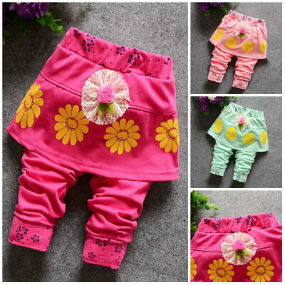 1pc toddler Baby girls bottoms girls cotton trousers pants flower