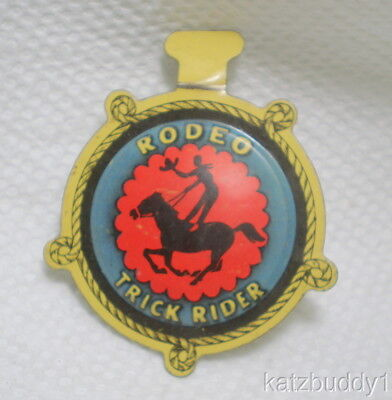 Vintage Rodeo Trick Rider Post Raisin Bran Western Cereal Premium Tab Pin