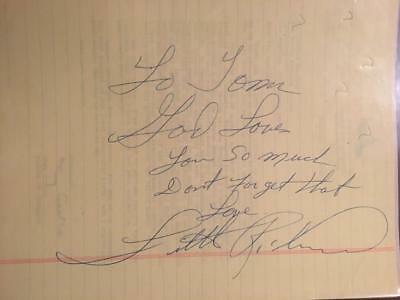 Little Richard Autograph Signed Inscribed Legal Pad Page