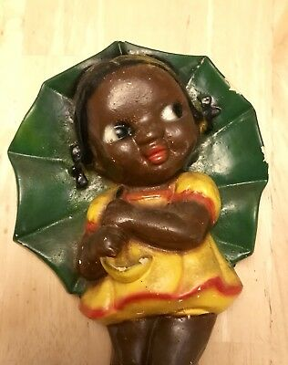 Vintage Black African American Chalkware Plaque Girl Umbrella With Hook - SWEET!