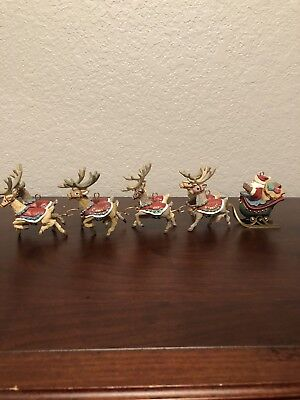 """Hallmark Ornaments  -  """"SANTA AND HIS REINDEER COLLECTION""""  -  Set of 5  - 1992"""