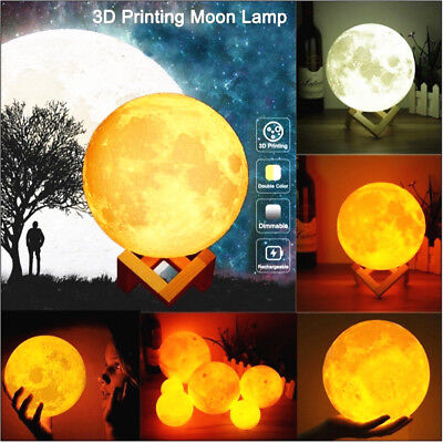3D Printing Moon Lamp LED Night Lunar Light USB Moonlight Touch 3 Color Changing