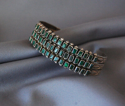 VINTAGE Navajo Native American Silver Green Turquoise Bracelet Old Pawn Jewelry