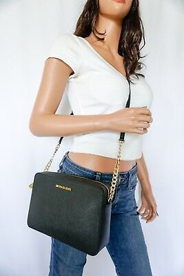 Nwt Michael Kors Jet Set Item Lg Ew Black Saffiano Leather Crossbody Bag Purse