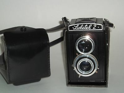 Lomo Lubitel 2 Russian Twin Lens Camera with Case & Cover FOR PARTS ONLY!