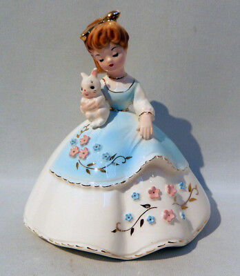 Vintage Josef Originals YOUNG LADY HOLDING A WHITE RABBIT Scarce Model Exc Cond