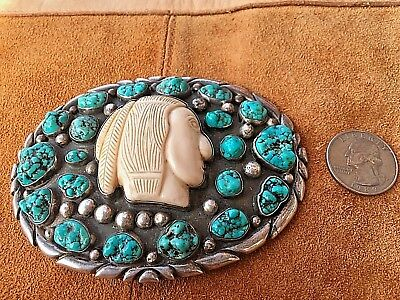1960's pawn Navajo turquoise Indian head Sterling belt buckle